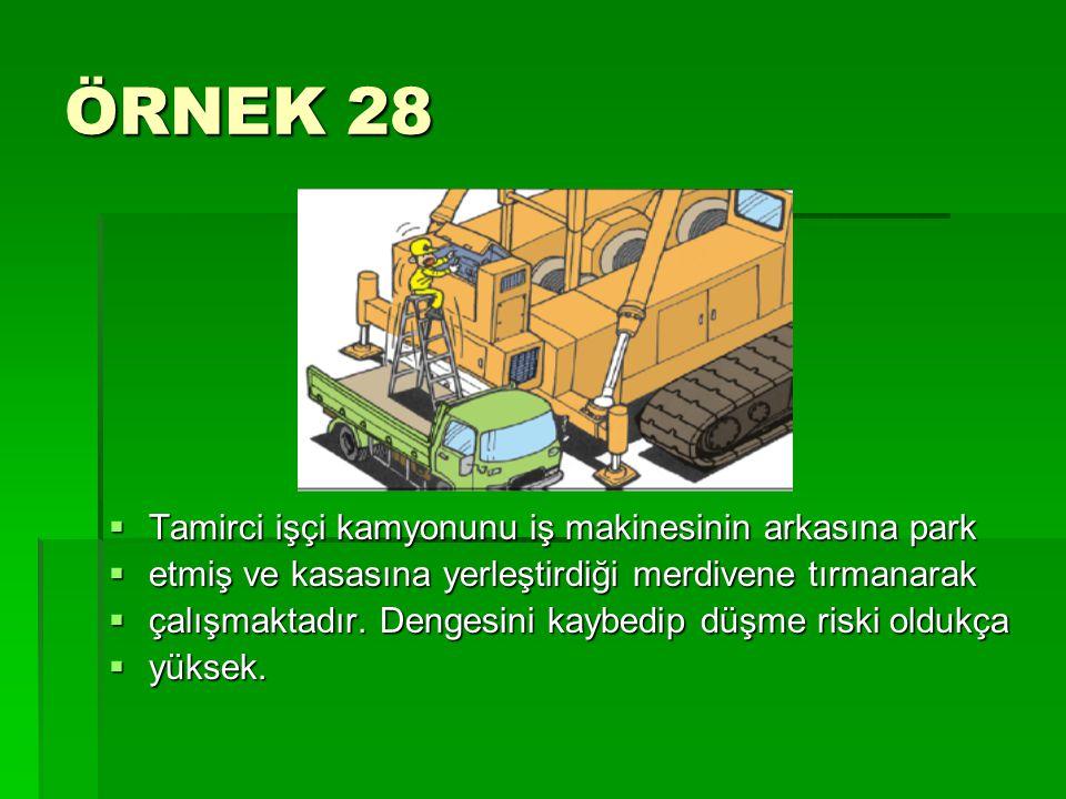 ÖRNEK 28 Tamirci işçi kamyonunu iş makinesinin arkasına park