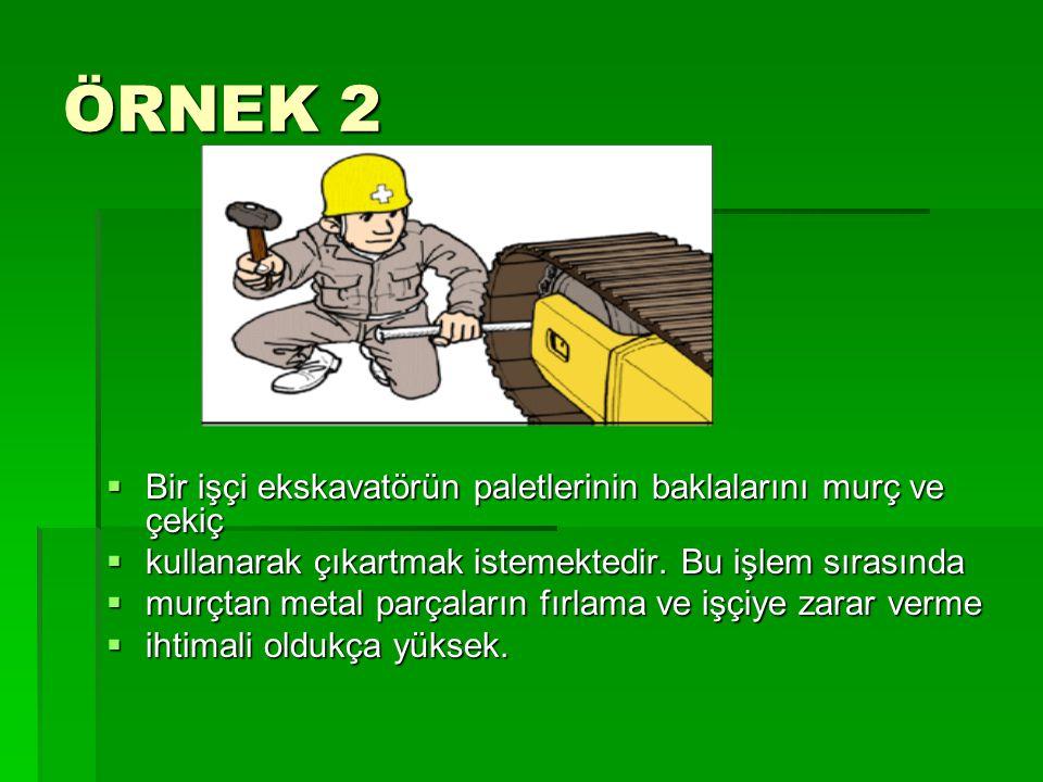 ÖRNEK 2 Bir işçi ekskavatörün paletlerinin baklalarını murç ve çekiç