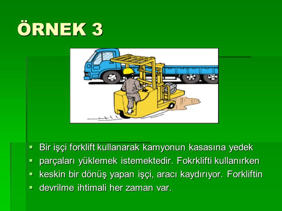 ÖRNEK 3 Bir işçi forklift kullanarak kamyonun kasasına yedek