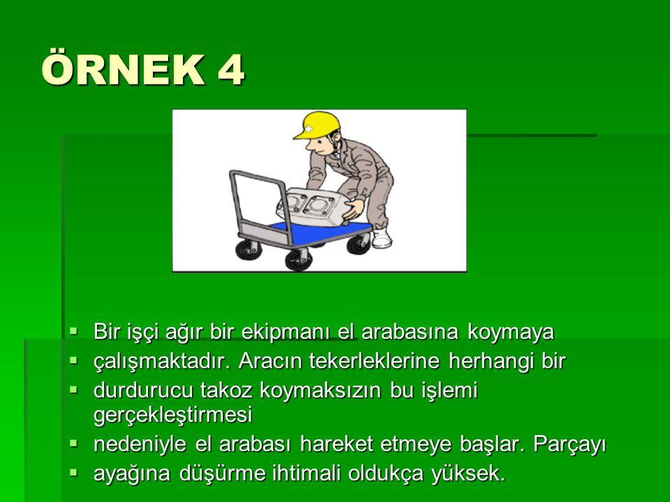 ÖRNEK 4 Bir işçi ağır bir ekipmanı el arabasına koymaya