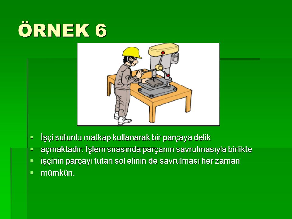 ÖRNEK 6 İşçi sütunlu matkap kullanarak bir parçaya delik