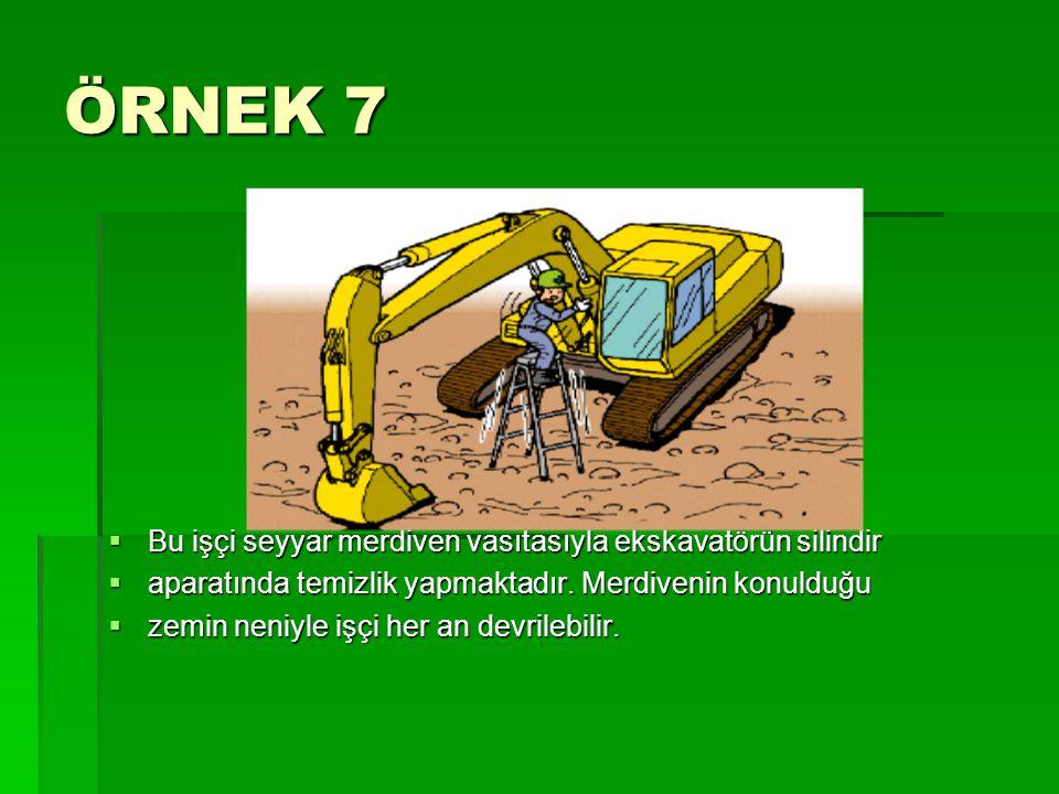 ÖRNEK 7 Bu işçi seyyar merdiven vasıtasıyla ekskavatörün silindir
