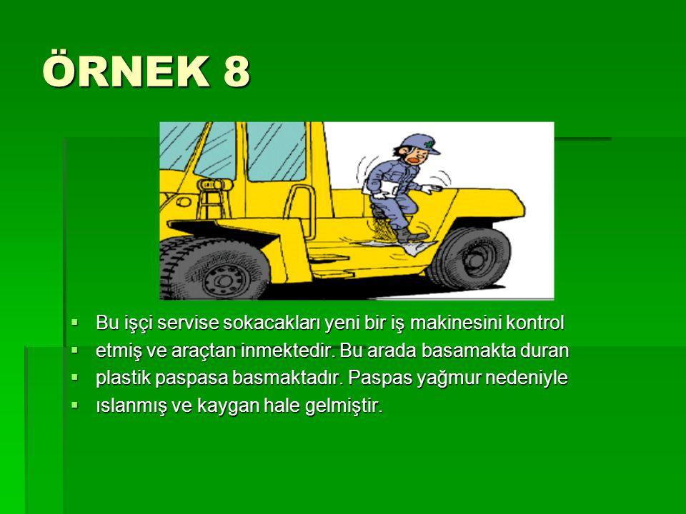 ÖRNEK 8 Bu işçi servise sokacakları yeni bir iş makinesini kontrol