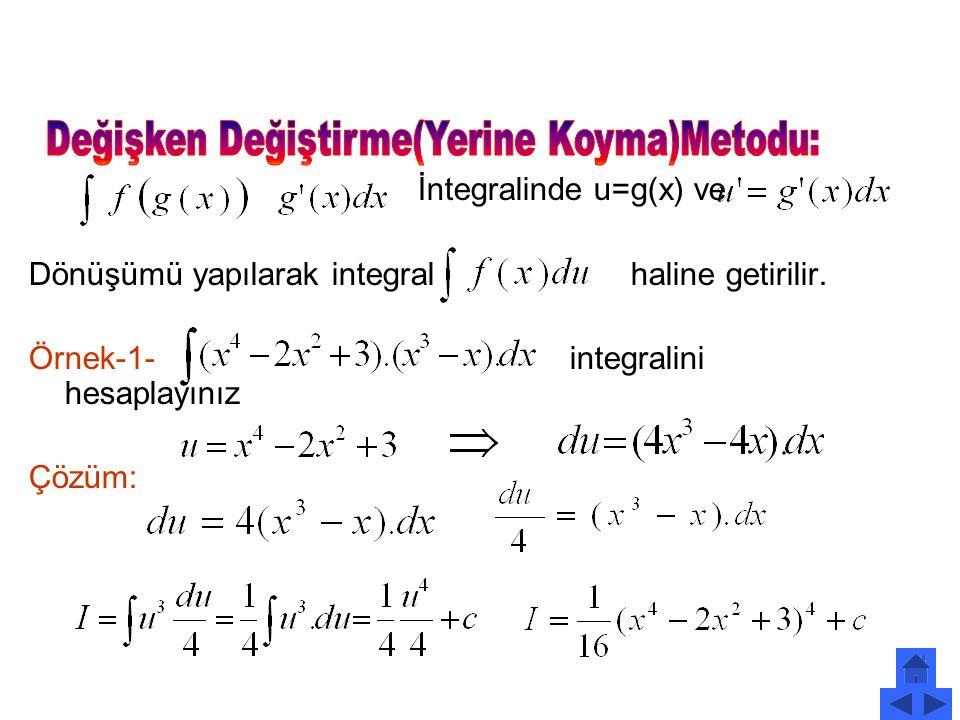 İntegralinde u=g(x) ve