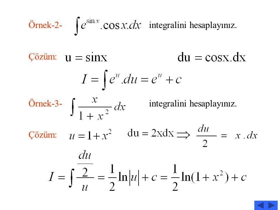 Örnek-2- integralini hesaplayınız.