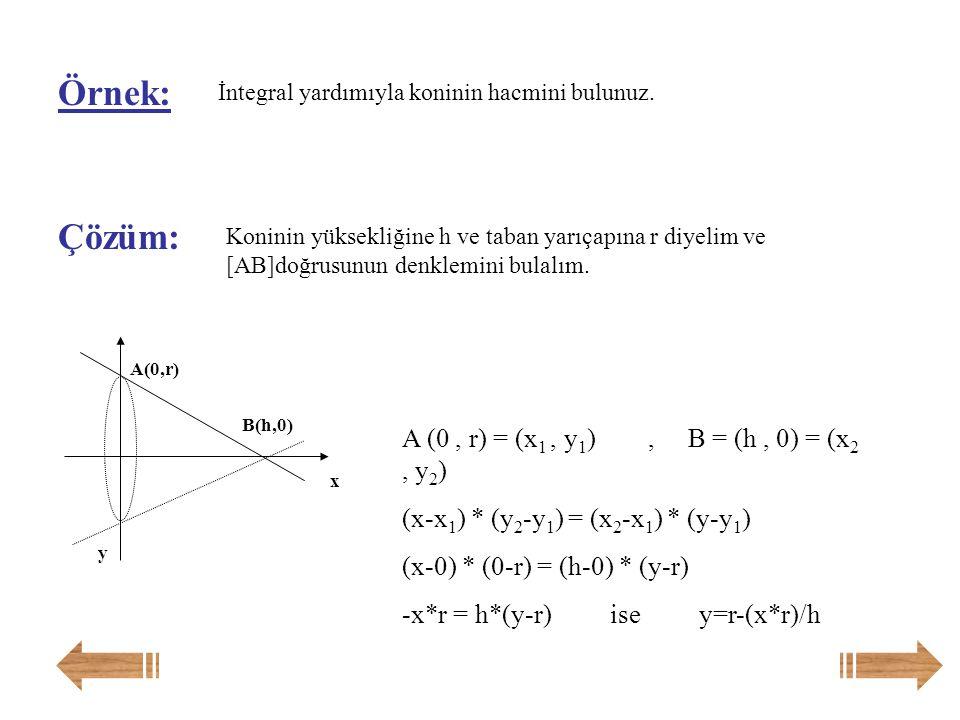 Örnek: Çözüm: A (0 , r) = (x1 , y1) , B = (h , 0) = (x2 , y2)
