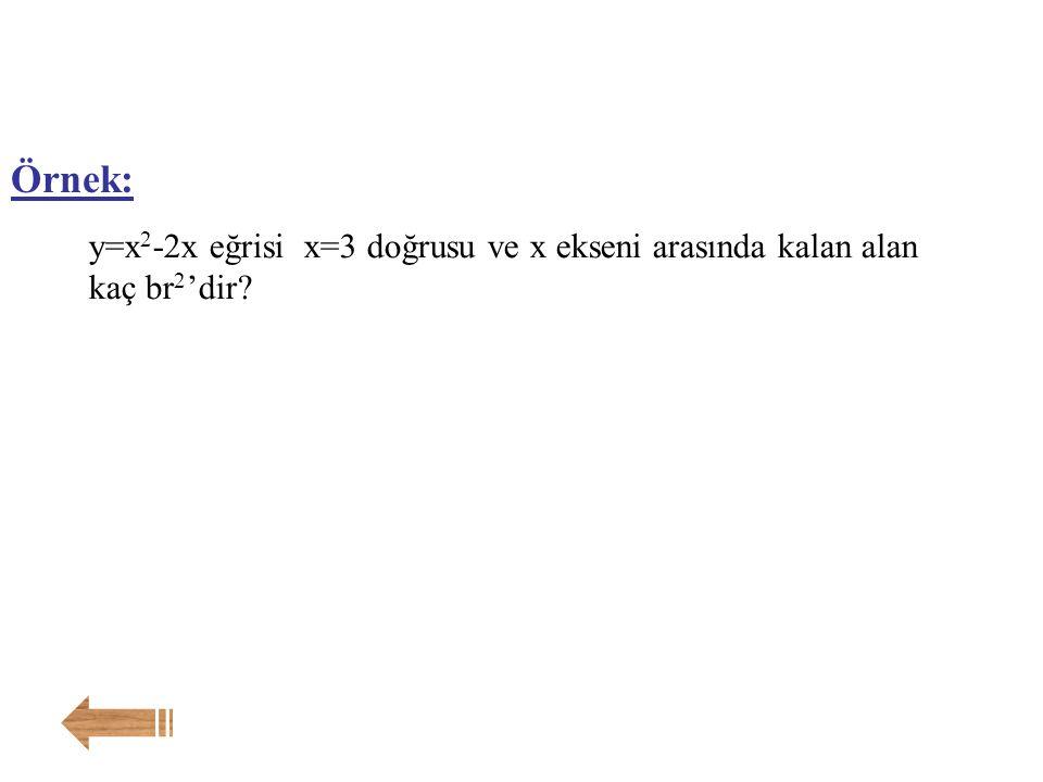 Örnek: y=x2-2x eğrisi x=3 doğrusu ve x ekseni arasında kalan alan kaç br2'dir