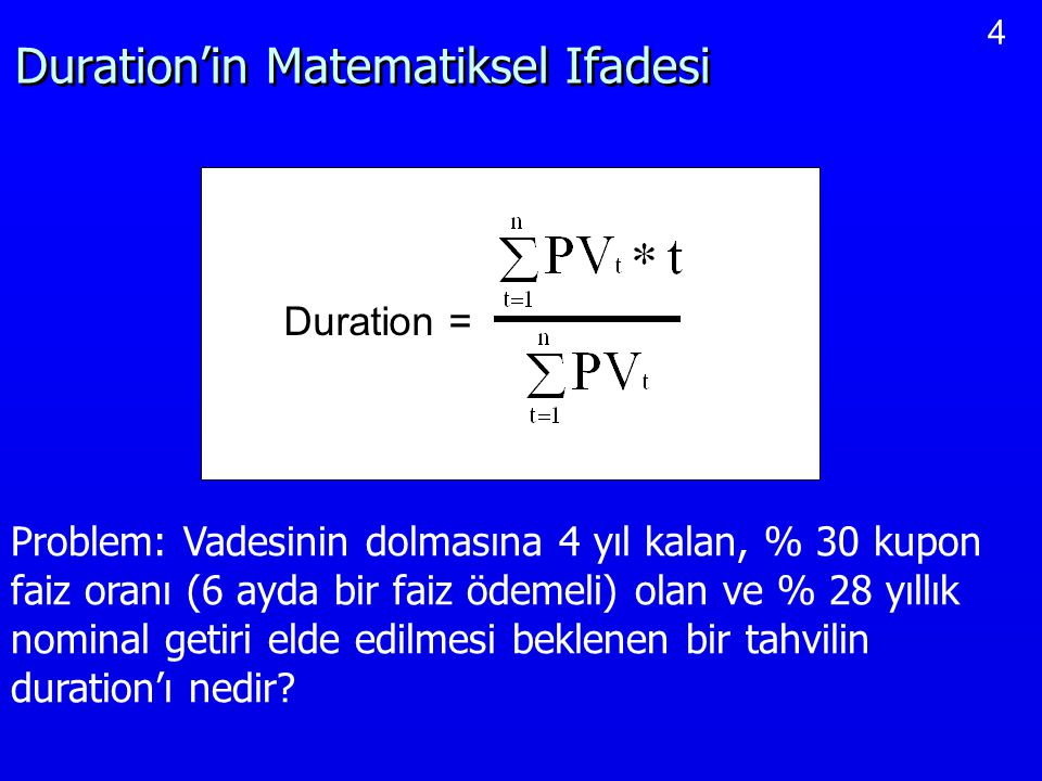 Duration'in Matematiksel Ifadesi