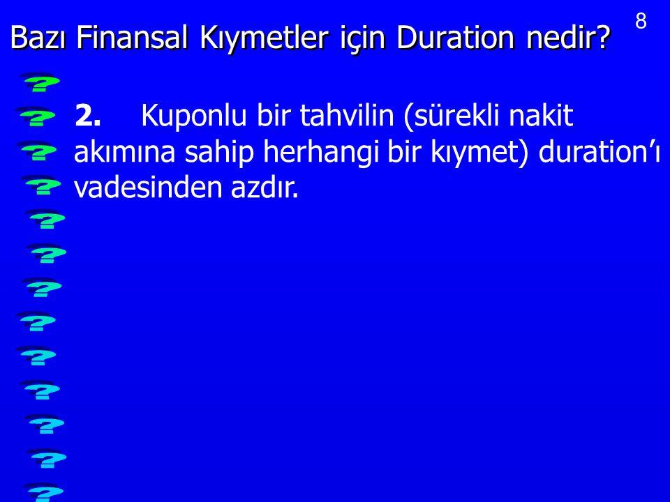 Bazı Finansal Kıymetler için Duration nedir