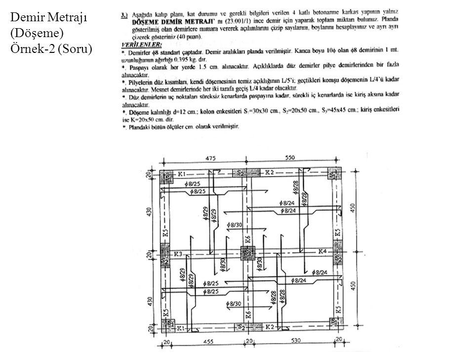 Demir Metrajı (Döşeme) Örnek-2 (Soru)