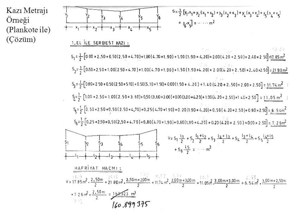 Kazı Metrajı Örneği (Plankote ile) (Çözüm)