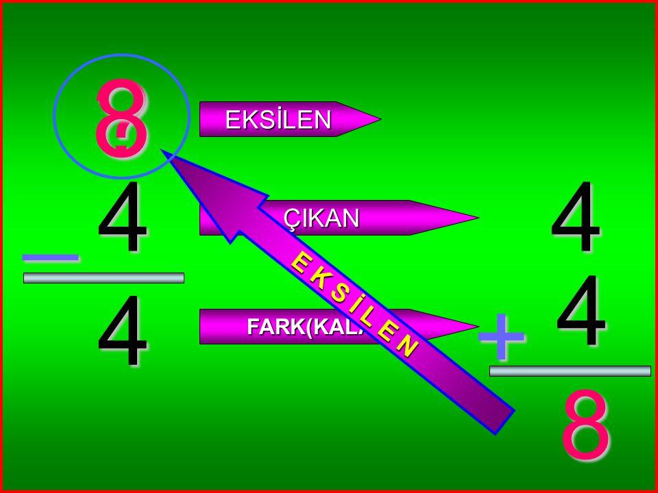 8 E K S İ L E N EKSİLEN _ 4 4 ÇIKAN 4 4 + FARK(KALAN) 8