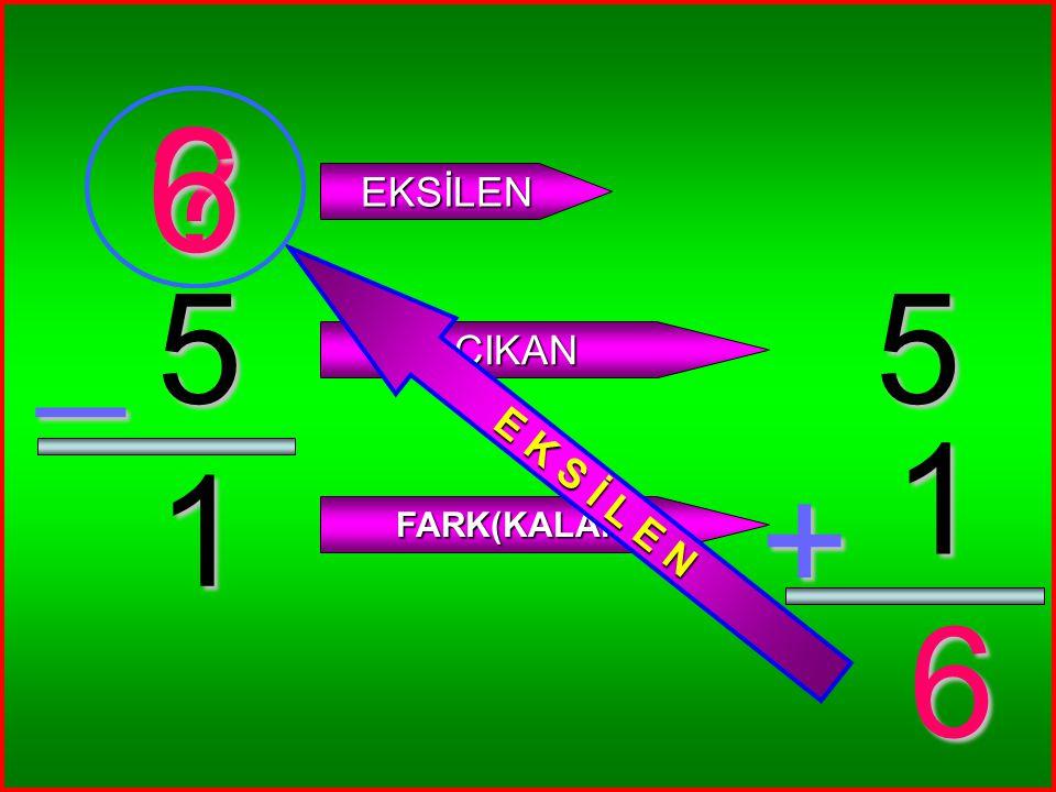 6 E K S İ L E N EKSİLEN _ 5 5 ÇIKAN 1 1 + FARK(KALAN) 6