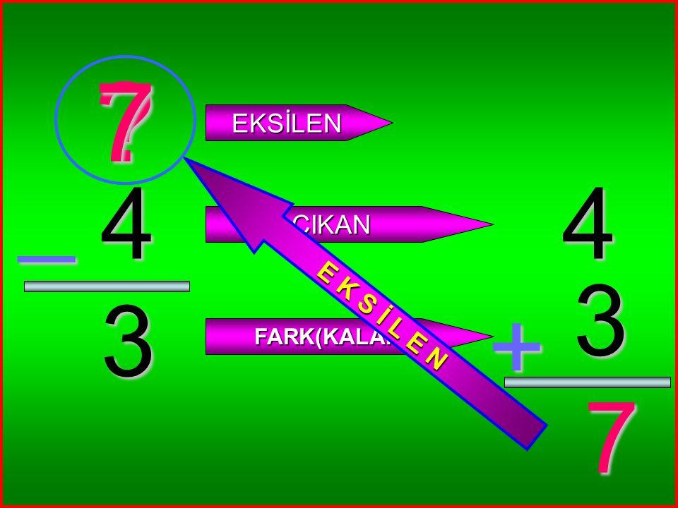 7 E K S İ L E N EKSİLEN _ 4 4 ÇIKAN 3 3 + FARK(KALAN) 7