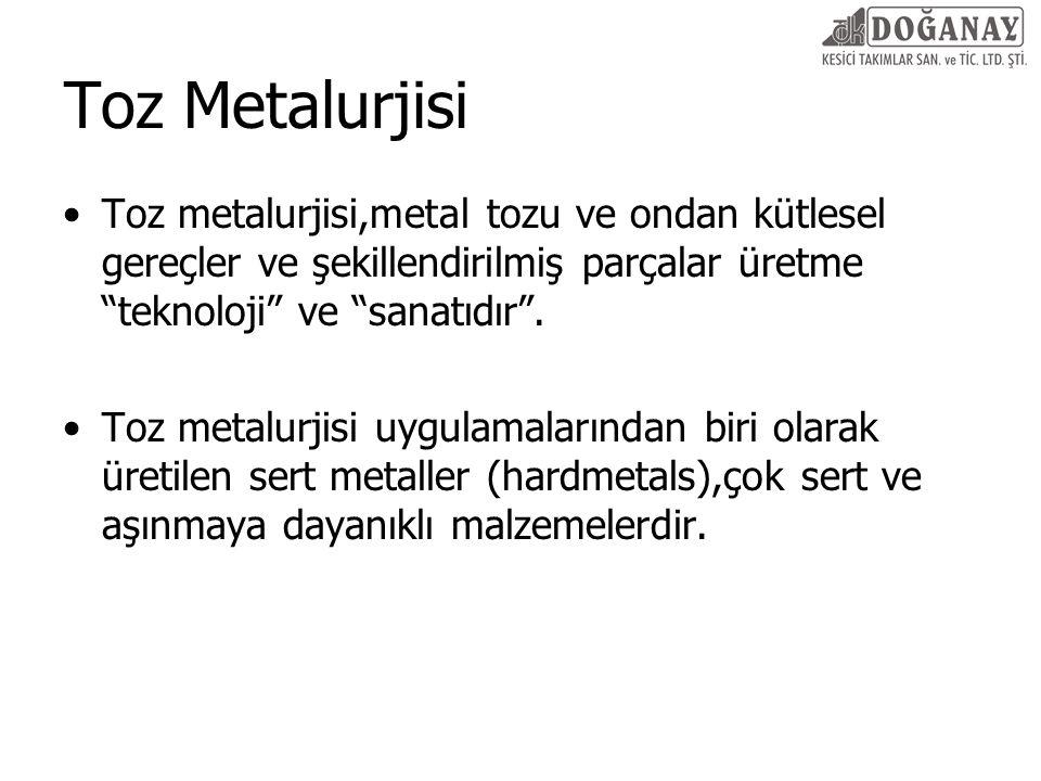 Toz Metalurjisi Toz metalurjisi,metal tozu ve ondan kütlesel gereçler ve şekillendirilmiş parçalar üretme teknoloji ve sanatıdır .