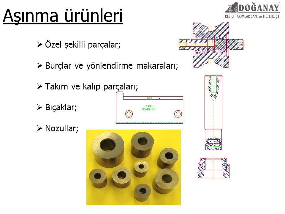 Aşınma ürünleri Özel şekilli parçalar;