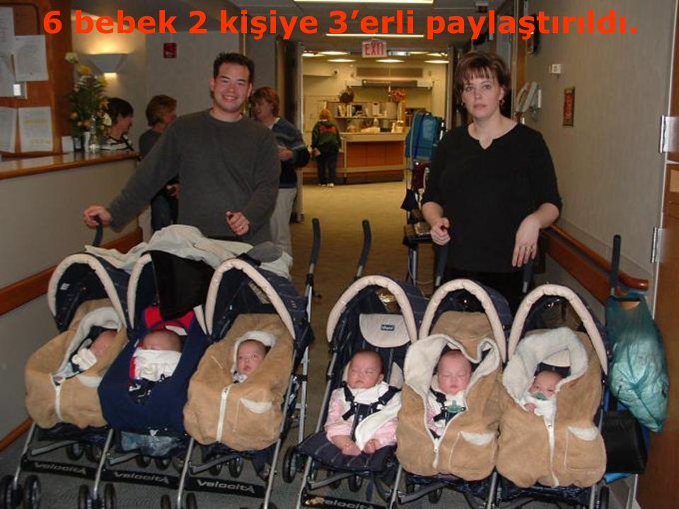 6 bebek 2 kişiye 3'erli paylaştırıldı.