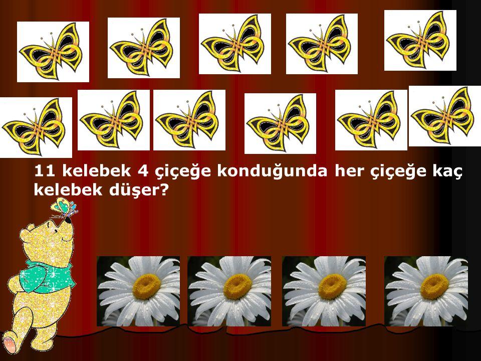 11 kelebek 4 çiçeğe konduğunda her çiçeğe kaç