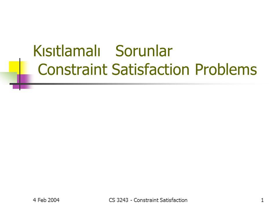 Kısıtlamalı Sorunlar Constraint Satisfaction Problems