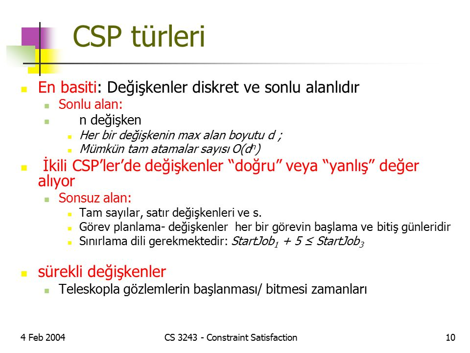 CS 3243 - Constraint Satisfaction