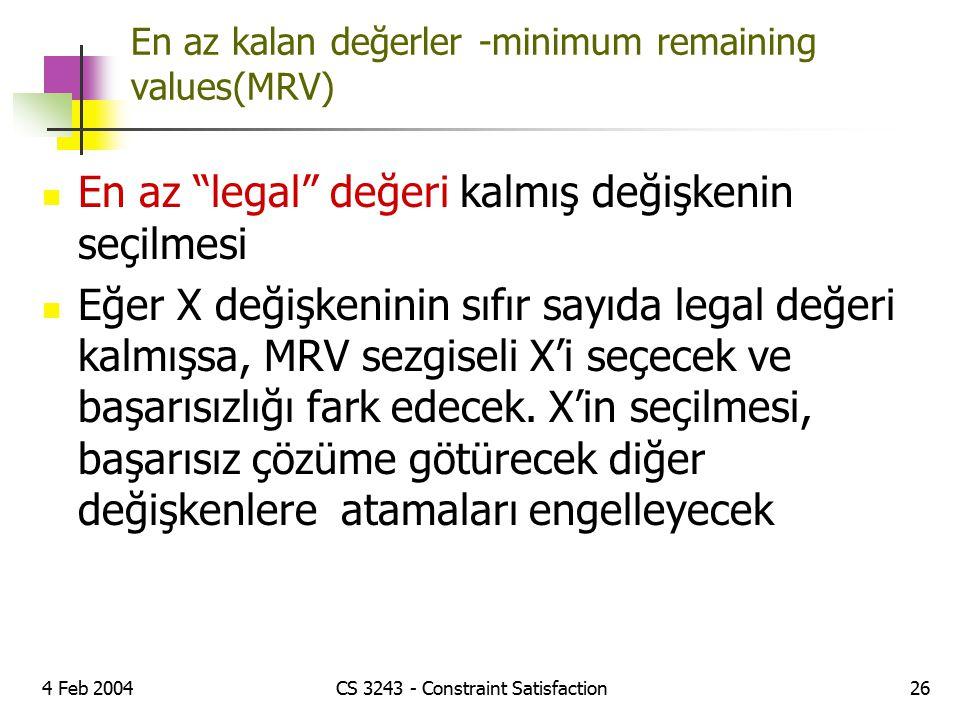 En az kalan değerler -minimum remaining values(MRV)