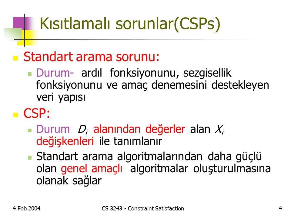 Kısıtlamalı sorunlar(CSPs)