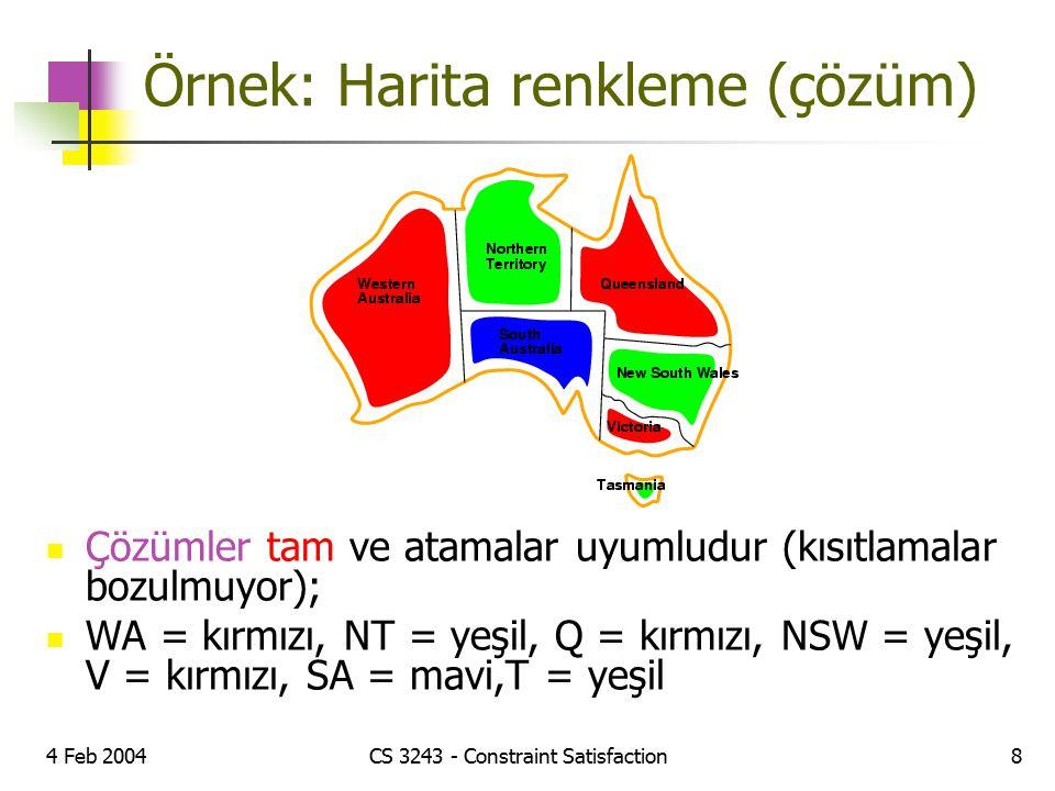 Örnek: Harita renkleme (çözüm)