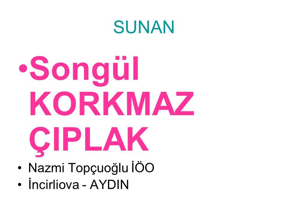 SUNAN Songül KORKMAZ ÇIPLAK Nazmi Topçuoğlu İÖO İncirliova - AYDIN