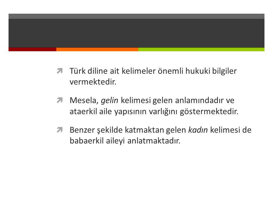 Türk diline ait kelimeler önemli hukuki bilgiler vermektedir.