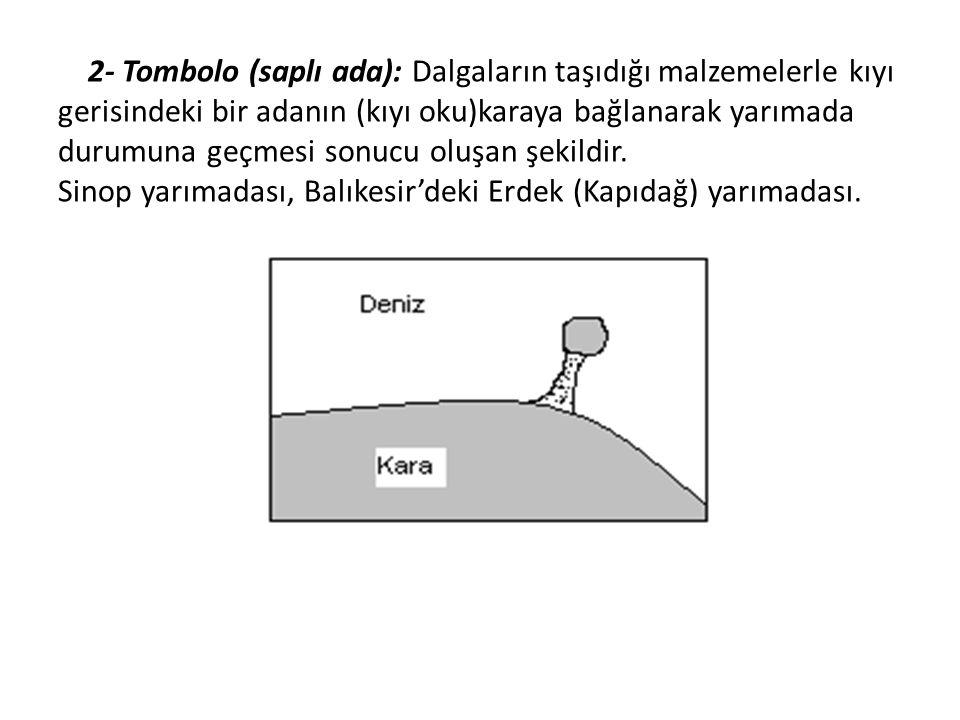 2- Tombolo (saplı ada): Dalgaların taşıdığı malzemelerle kıyı