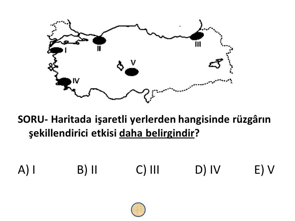 SORU- Haritada işaretli yerlerden hangisinde rüzgârın şekillendirici etkisi daha belirgindir