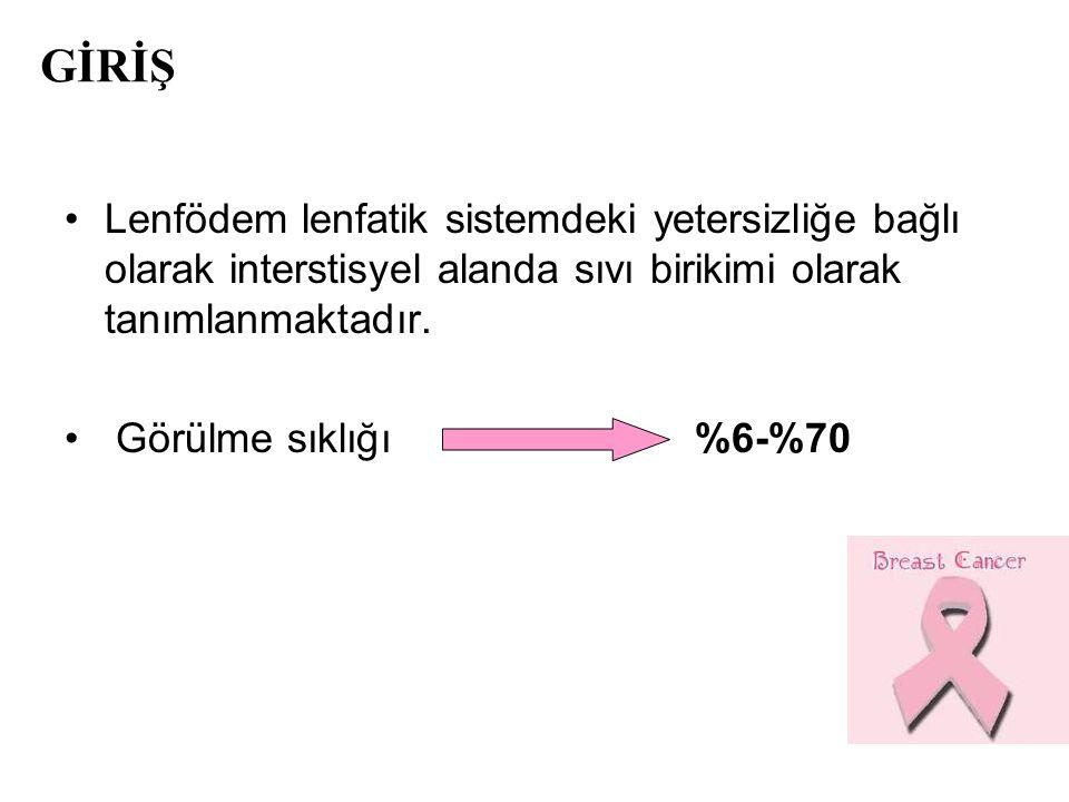 GİRİŞ Lenfödem lenfatik sistemdeki yetersizliğe bağlı olarak interstisyel alanda sıvı birikimi olarak tanımlanmaktadır.