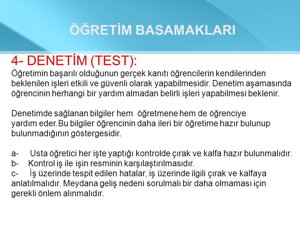 ÖĞRETİM BASAMAKLARI 4- DENETİM (TEST):