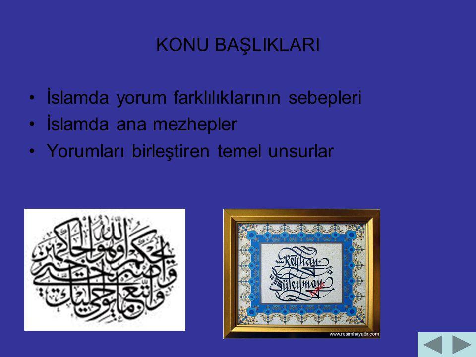 KONU BAŞLIKLARI İslamda yorum farklılıklarının sebepleri.