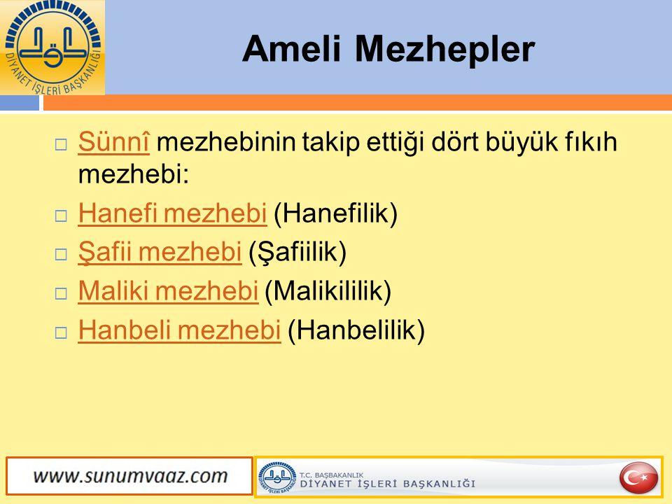 Ameli Mezhepler Sünnî mezhebinin takip ettiği dört büyük fıkıh mezhebi: Hanefi mezhebi (Hanefilik)