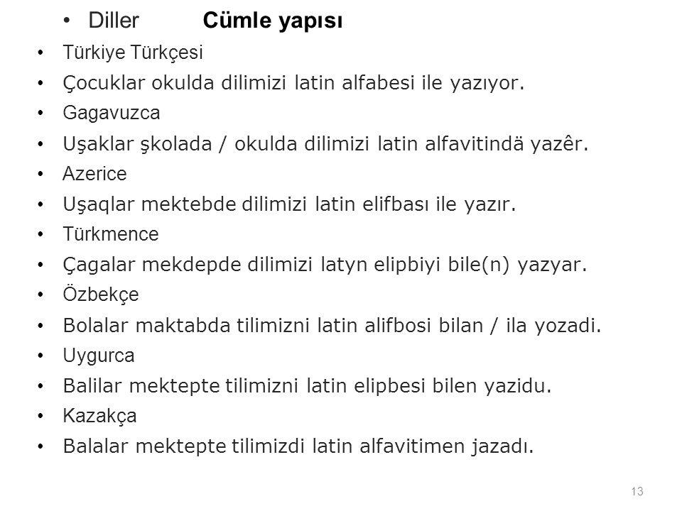 Diller Cümle yapısı Türkiye Türkçesi