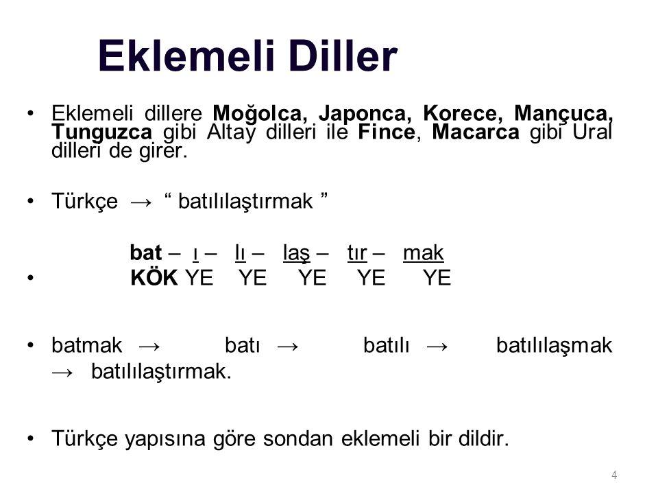 Eklemeli Diller Eklemeli dillere Moğolca, Japonca, Korece, Mançuca, Tunguzca gibi Altay dilleri ile Fince, Macarca gibi Ural dilleri de girer.