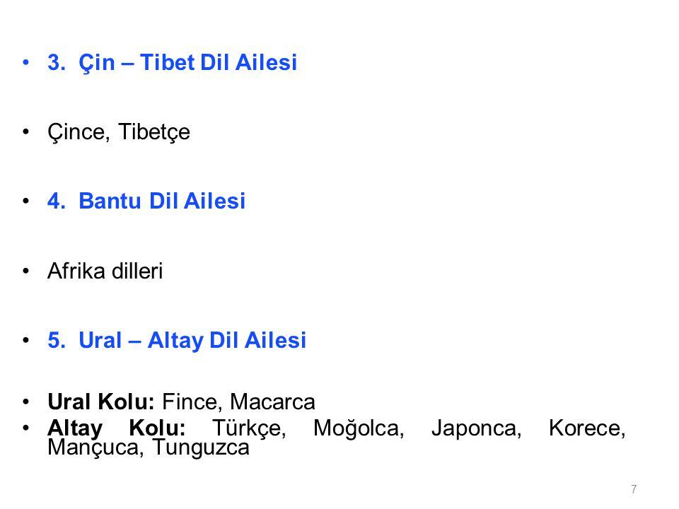 3. Çin – Tibet Dil Ailesi Çince, Tibetçe. 4. Bantu Dil Ailesi. Afrika dilleri. 5. Ural – Altay Dil Ailesi.