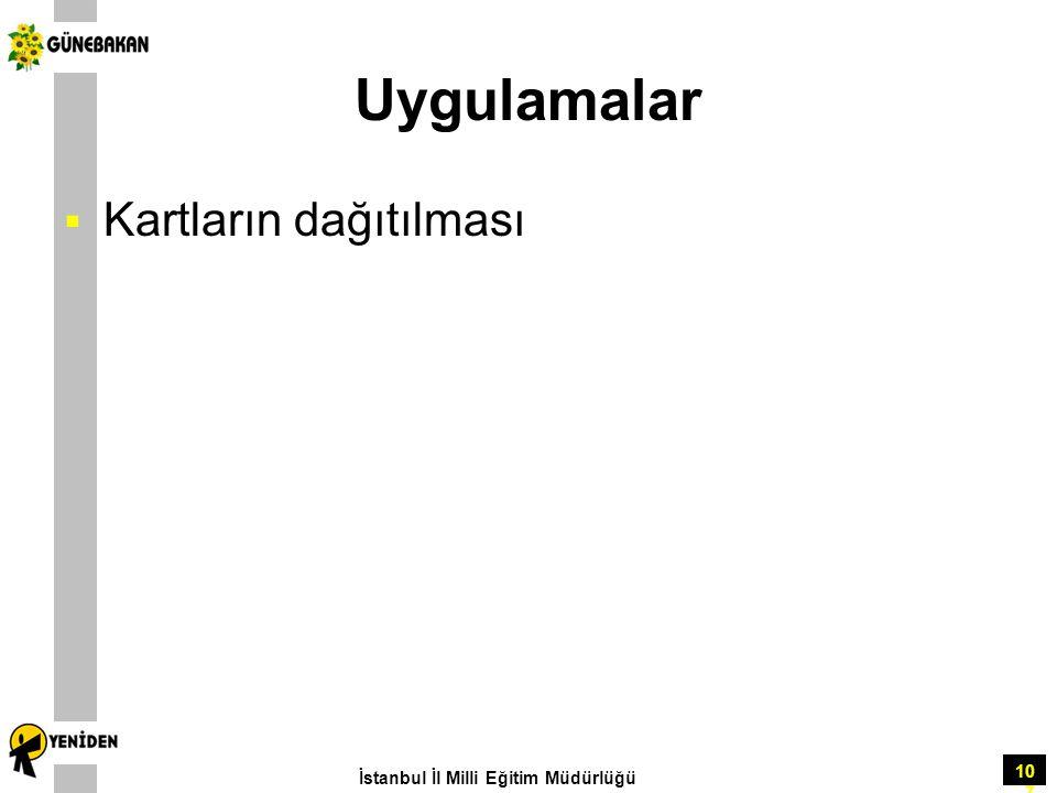 Uygulamalar Kartların dağıtılması İstanbul İl Milli Eğitim Müdürlüğü