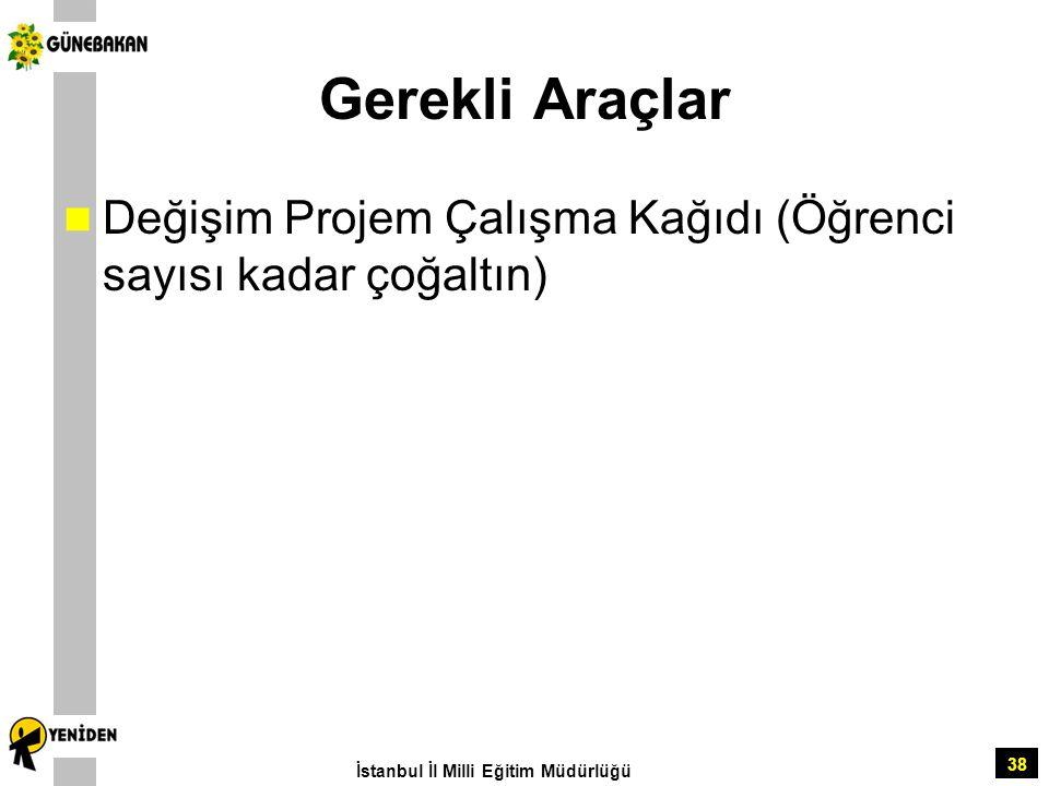 Gerekli Araçlar Değişim Projem Çalışma Kağıdı (Öğrenci sayısı kadar çoğaltın) İstanbul İl Milli Eğitim Müdürlüğü.