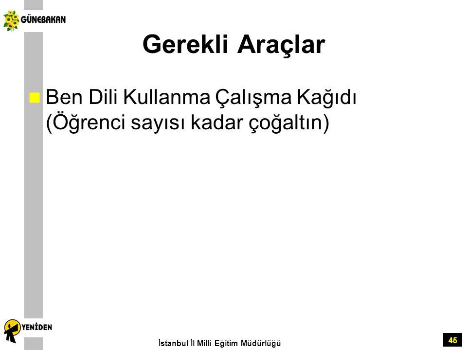 Gerekli Araçlar Ben Dili Kullanma Çalışma Kağıdı (Öğrenci sayısı kadar çoğaltın) İstanbul İl Milli Eğitim Müdürlüğü.