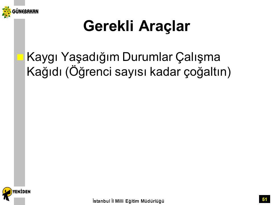 Gerekli Araçlar Kaygı Yaşadığım Durumlar Çalışma Kağıdı (Öğrenci sayısı kadar çoğaltın) İstanbul İl Milli Eğitim Müdürlüğü.