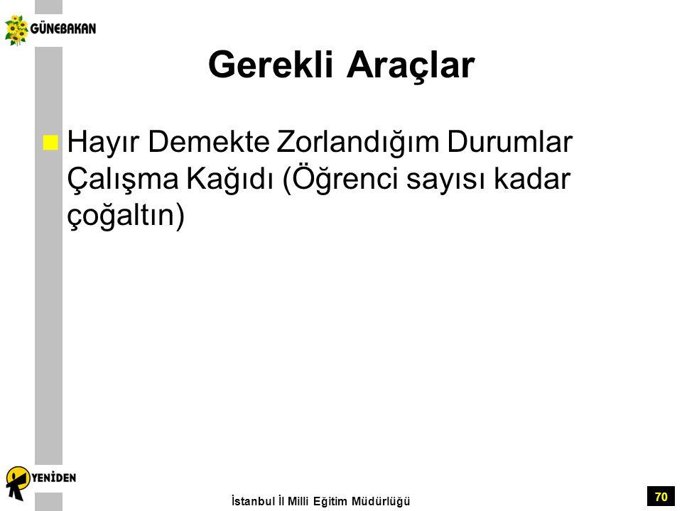Gerekli Araçlar Hayır Demekte Zorlandığım Durumlar Çalışma Kağıdı (Öğrenci sayısı kadar çoğaltın) İstanbul İl Milli Eğitim Müdürlüğü.