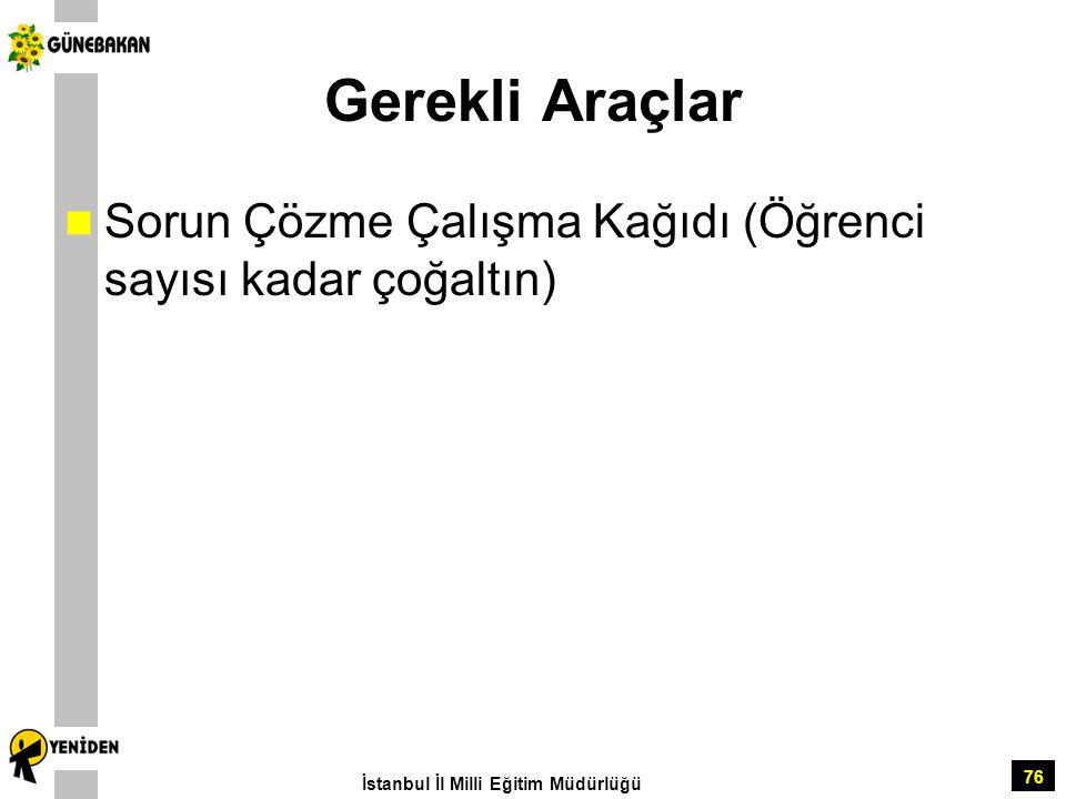 Gerekli Araçlar Sorun Çözme Çalışma Kağıdı (Öğrenci sayısı kadar çoğaltın) İstanbul İl Milli Eğitim Müdürlüğü.
