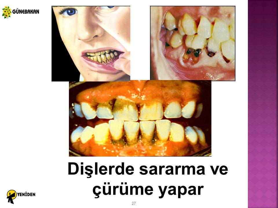 Dişlerde sararma ve çürüme yapar