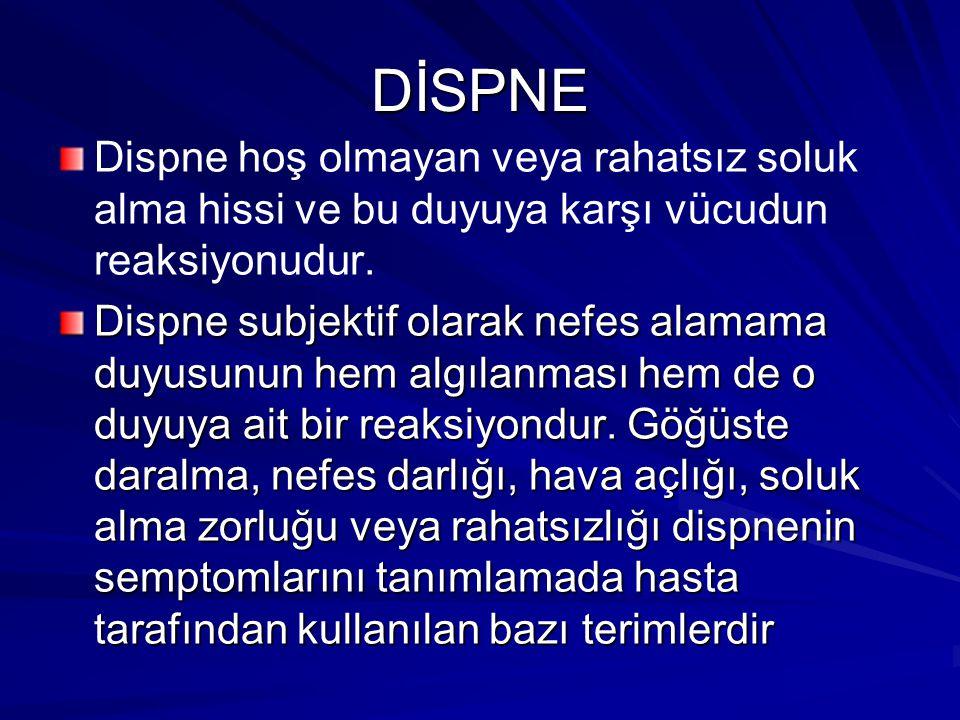 DİSPNE Dispne hoş olmayan veya rahatsız soluk alma hissi ve bu duyuya karşı vücudun reaksiyonudur.