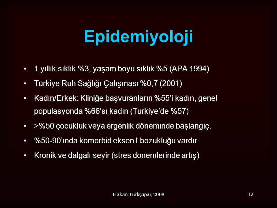 Epidemiyoloji 1 yıllık sıklık %3, yaşam boyu sıklık %5 (APA 1994)