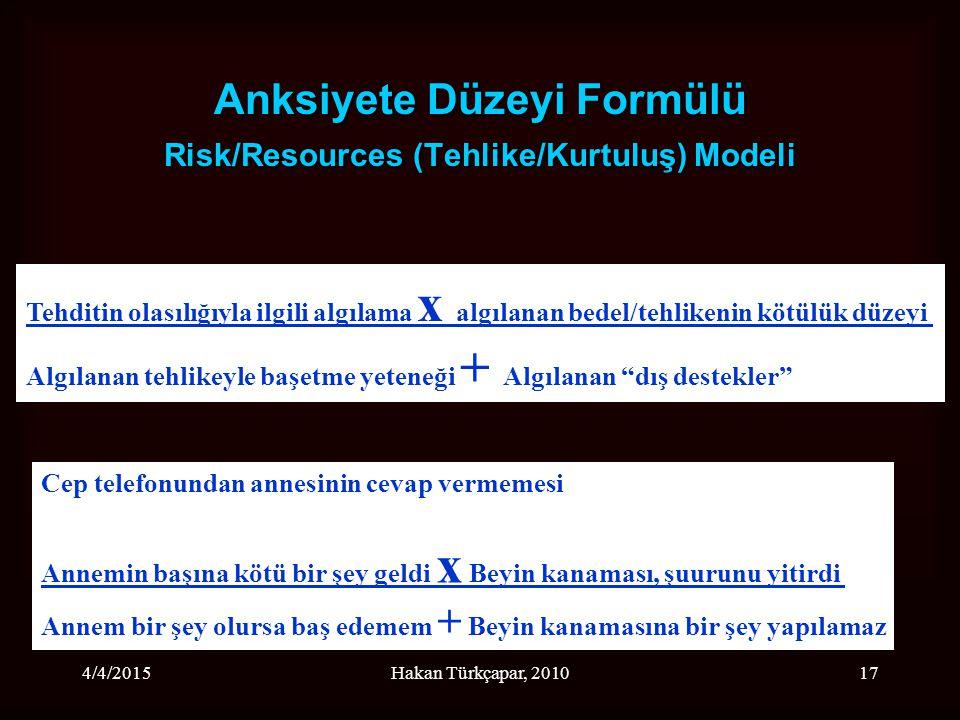 Anksiyete Düzeyi Formülü Risk/Resources (Tehlike/Kurtuluş) Modeli