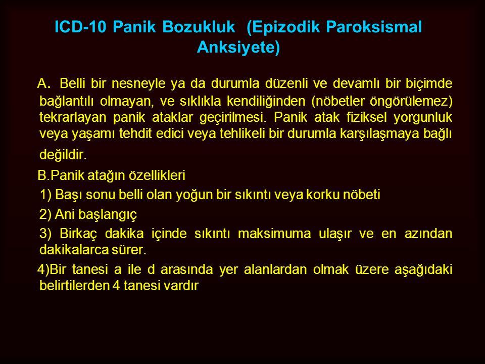 ICD-10 Panik Bozukluk (Epizodik Paroksismal Anksiyete)