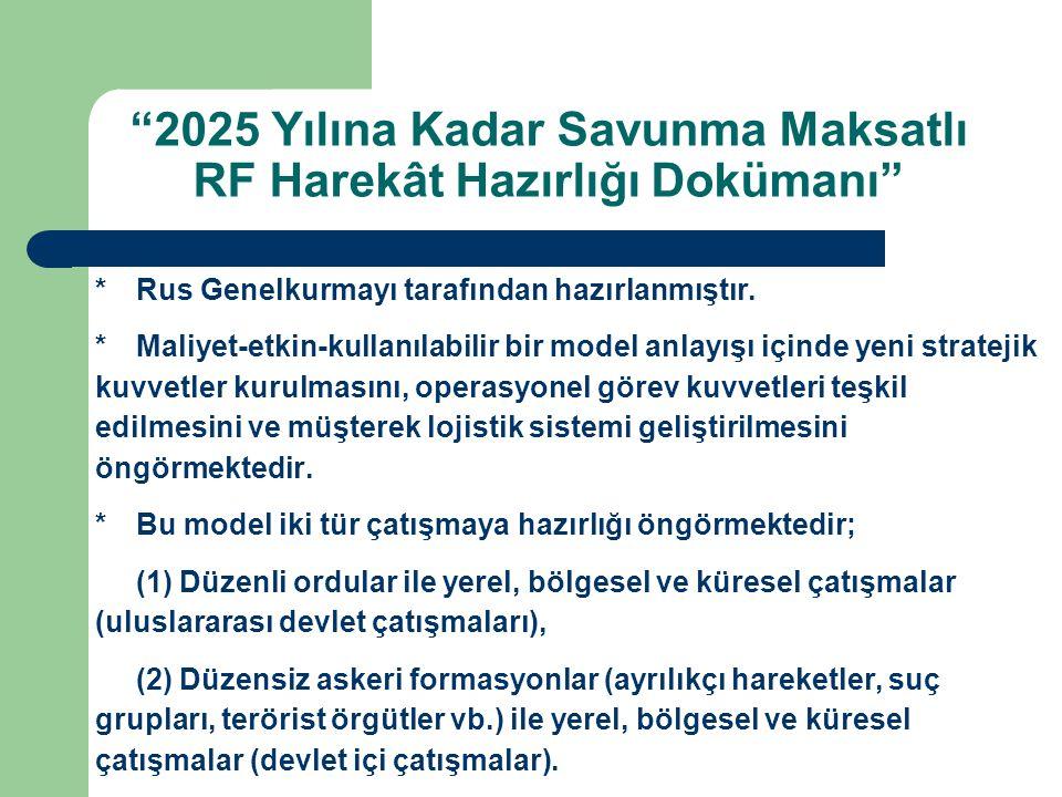 2025 Yılına Kadar Savunma Maksatlı RF Harekât Hazırlığı Dokümanı